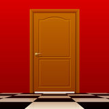 Brown closed door with red wall and glossy chess floor. Interior concept design. There is in addition a vector format EPS 10 Stock Images