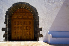 A brown closed wood  church door   spain canarias Stock Images