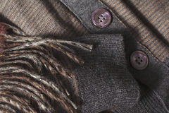 Brown clothes and scarf royalty free stock image