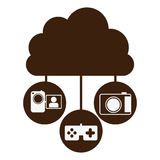 Brown cloud in cumulus shape connected to tech device. Illustration Royalty Free Stock Image