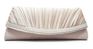 Brown clutch bag with jewel Royalty Free Stock Photography
