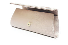 Brown clutch bag with jewel Stock Photos