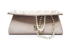 Brown clutch bag with jewel Royalty Free Stock Images