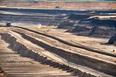 Brown Coal Mining at Garzweiler - Open Cast. Structured Layers of Earth at open cast Brown Coal Mining at Garzweiler royalty free stock photography