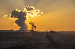 Brown coal mining Landscape. Brown coal mining industry landscape Stock Photo
