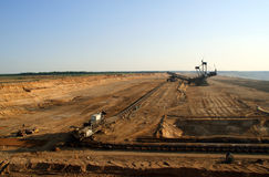 Brown coal open mining. Aerial royalty free stock photos