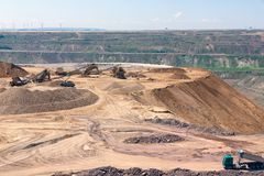 Brown coal open pit landscape with recycling raw materials in Germany. Brown coal open pit landscape with recycling raw materials in Garzweiler mine Germany stock image