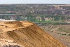 Brown coal open pit landscape with recycling raw materials in Germany. Brown coal open pit landscape with recycling raw materials in Garzweiler mine Germany stock photo