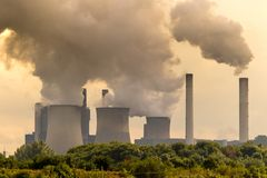 Brown coal power plant emission.  stock photography