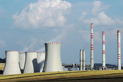 Brown coal power plant station in the field Stock Photography