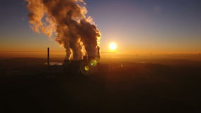 Brown coal power station. At dusk - aerial view stock footage