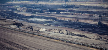 Brown coal strip mine Royalty Free Stock Photos