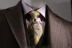 Brown coat, pink shirt, tie. Brown coat with pink shirt and ornament tie Stock Photos