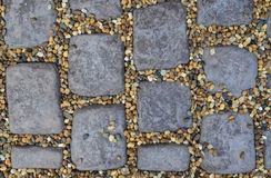 Brown Cobble Stone Pavement. Texture Royalty Free Stock Images