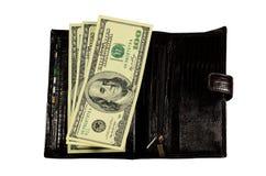 Brown cobre a carteira com os dólares isolados no branco Imagem de Stock Royalty Free