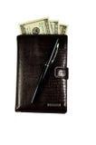 Brown cobre a carteira com os dólares isolados no branco Imagens de Stock