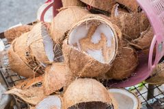 Brown coconut shell Stock Photos