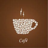 Brown coffee background with white insignia composed from shilou Stock Image