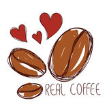 Brown coffee bean with red heart hand drawn and word real coffee Royalty Free Stock Images
