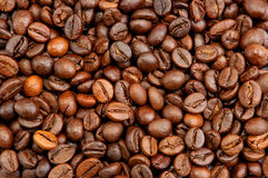 Brown coffee beans background. Brown roasted coffee beans background Royalty Free Stock Images