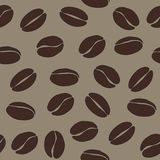 Brown coffee beans on beige background vector seamless pattern,. Eps 10 background Royalty Free Stock Images