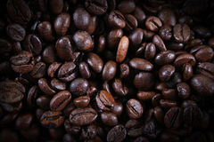 Brown coffee beans. Close-up of coffee beans for background and texture Royalty Free Stock Photography