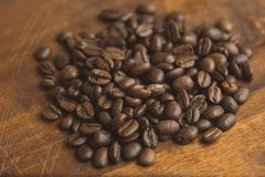 Brown coffee beans, closeup of macro coffee beans for background and texture.  Stock Photography