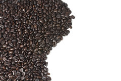 Brown coffee beans texture. Curved line of brown coffee beans texture Royalty Free Stock Images