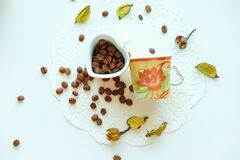 Brown Coffee Beans on White Ceramic Container Stock Photo