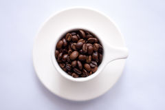 Brown Coffee Beans on White Ceramic Cup Stock Photos