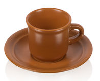 Brown coffee cup. On the white background Royalty Free Stock Photo