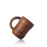 Brown coffee cup made from palm wood. Studio shot isolated on wh Royalty Free Stock Photos