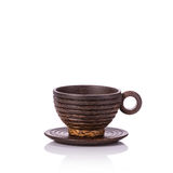 Brown coffee cup made from palm wood. Studio shot isolated on wh Stock Images
