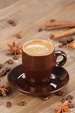 Brown coffee cup r on the background of wooden planks Royalty Free Stock Photography