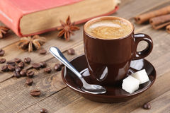 Brown coffee cup r on the background of wooden planks Stock Photography