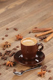 Brown coffee cup r on the background of wooden planks Royalty Free Stock Image