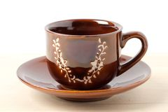 Brown coffee Cup and saucer Stock Photos