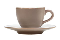 Brown coffee cup and saucer Stock Images