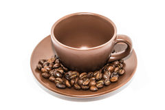Brown Coffee And Cup On White Backgrounds Royalty Free Stock Images