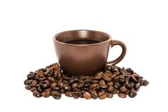 Brown Coffee And Cup On White Backgrounds Royalty Free Stock Photography