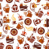 Brown coffee cups, pots, grinders seamless pattern Stock Photo