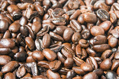 Brown Coffee Grains. Fresh Brown Coffee Beans Close-Up Royalty Free Stock Images