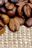 Brown coffee grains on a sacking Royalty Free Stock Images