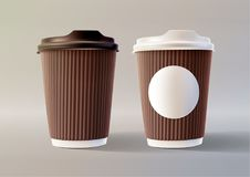 Brown Coffee Ripple Cups Layered Vector Illustration EPS 10. Brown Coffee Ripple Cups  on Light Background Layered Vector Illustration EPS 10 Royalty Free Stock Photos