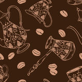 Brown coffee seamless pattern Royalty Free Stock Image