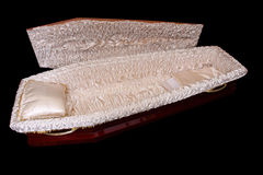 Brown coffin. Brown wooden coffin, studio shot, isolated Royalty Free Stock Photo