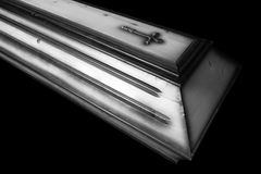 Brown coffin Royalty Free Stock Images