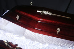 Brown coffin, close-up inside view Stock Photo