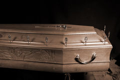 Brown coffin, close-up view Royalty Free Stock Images