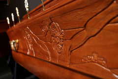 Brown coffin, close-up view royalty free stock photography